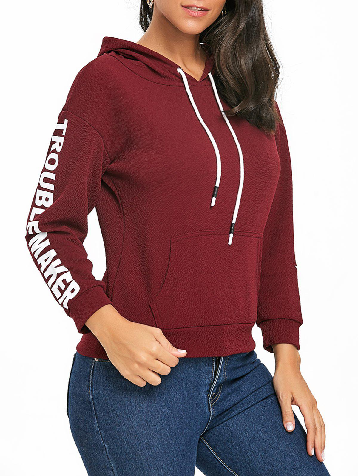 Cheap Drawstring Pullover Graphic Hoodie