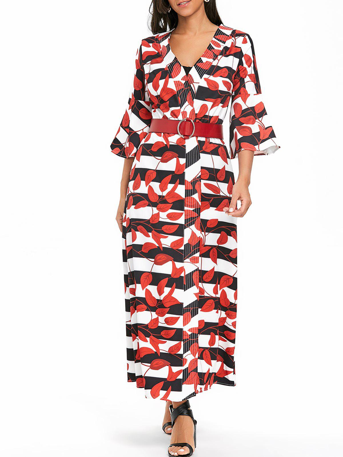 Trendy Bell Sleeve Striped Leaves Print Maxi Coat