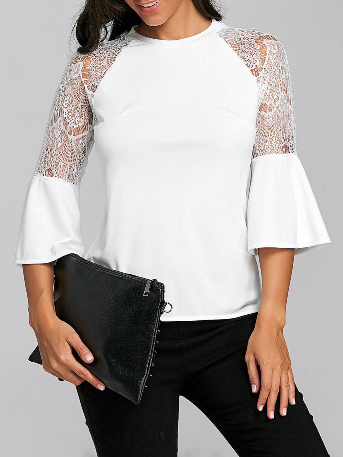 Fashion Lace Insert Flare Sleeve Top