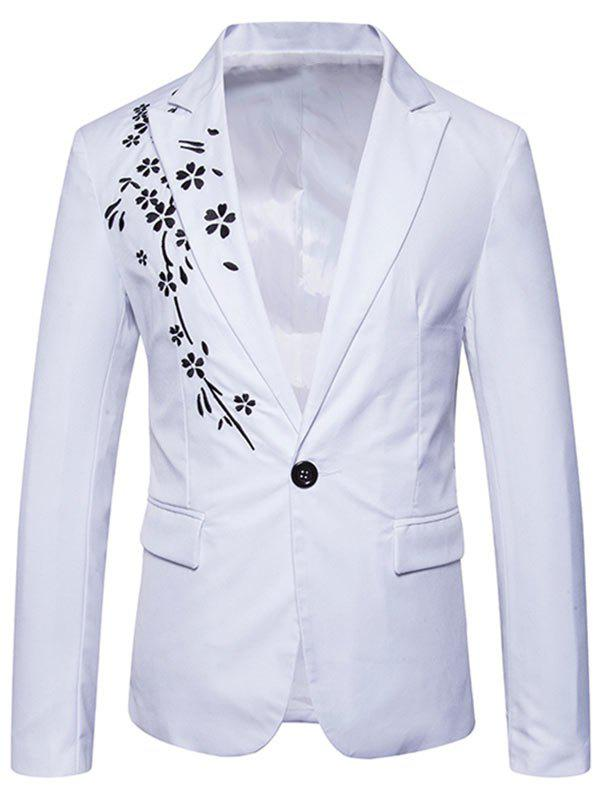 Trendy One Button Floral Embroidery Casual Blazer