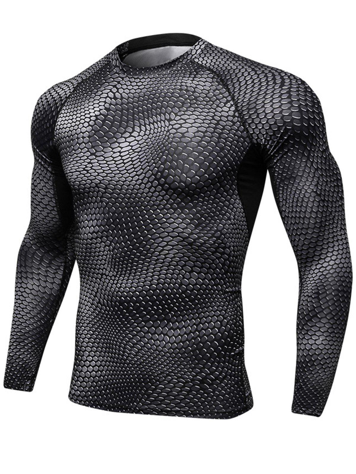Outfit Quick Dry 3D Printed Stretchy Long Sleeve T-shirt