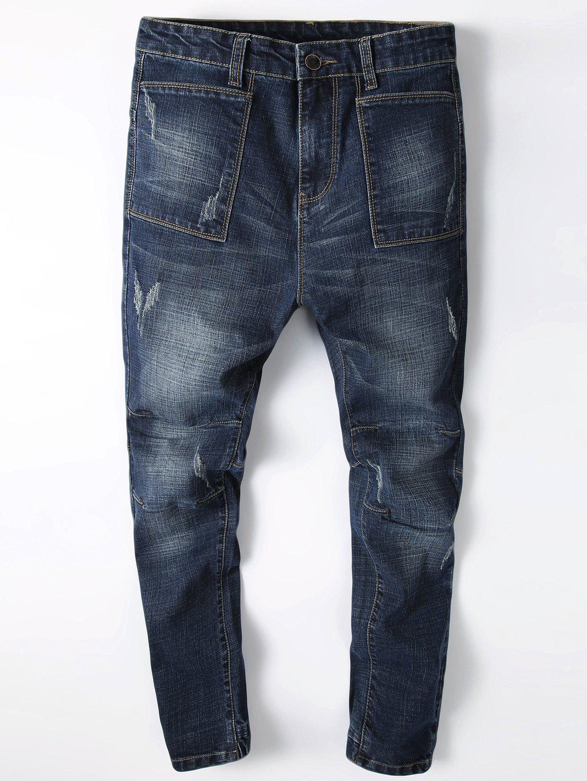 Shop Scratch Detail Faded Wash Straight Jean