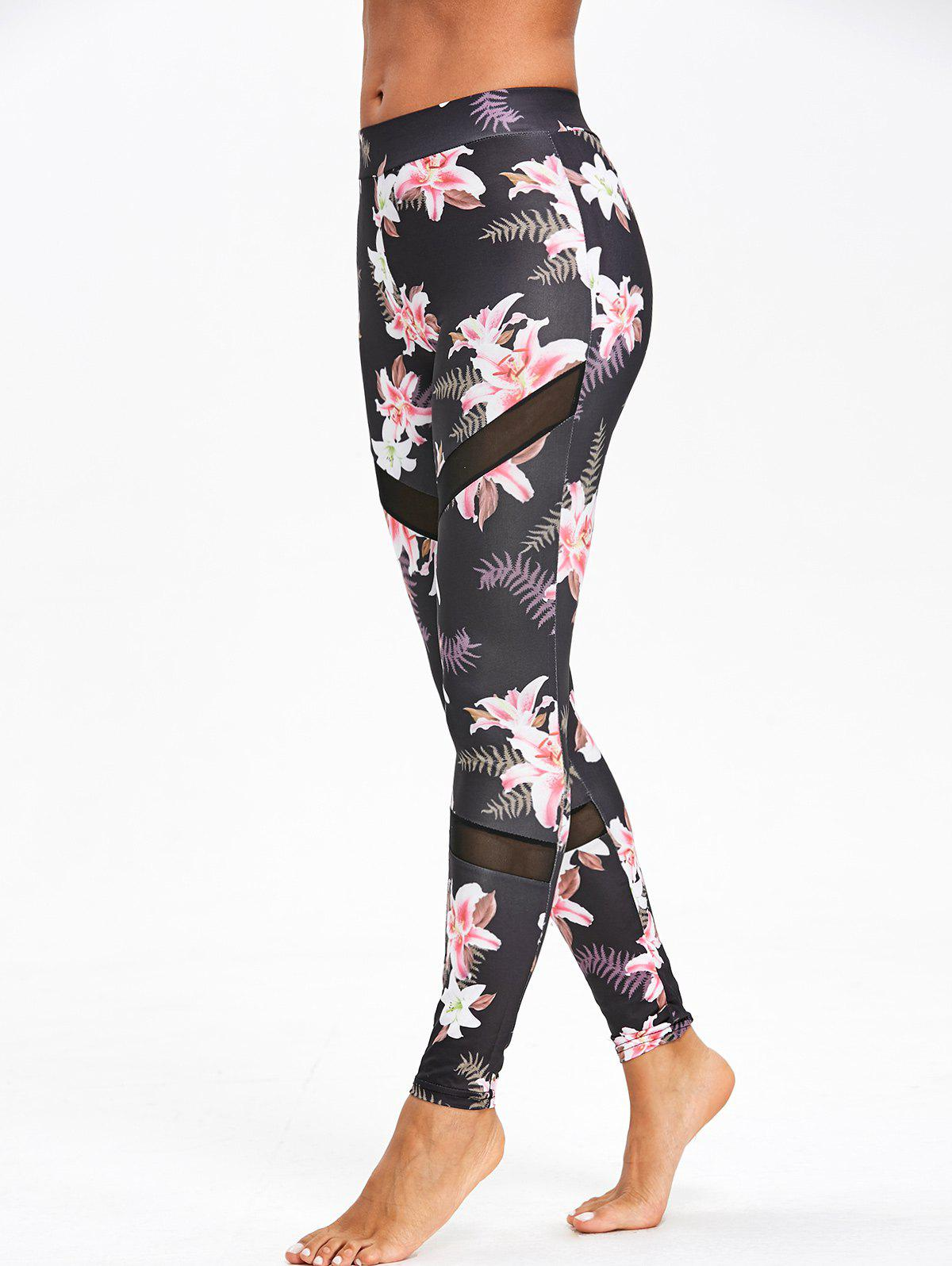 Outfit High Waist Mesh Panel Floral Print Leggings
