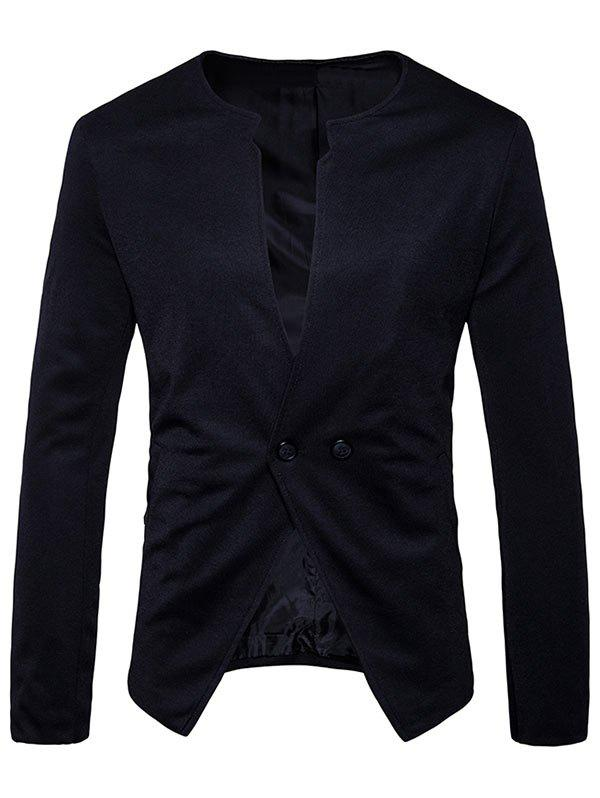 Online Collarless Double Button Casual Blazer