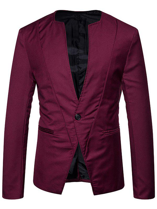 Sale Collarless One Button Blazer
