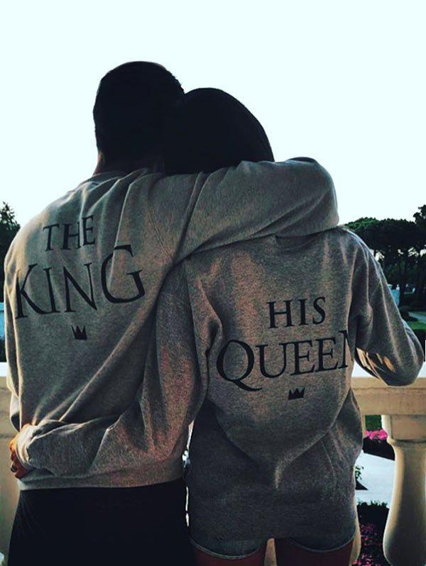 Fashion Valentine King and Queen Couple Sweatshirt