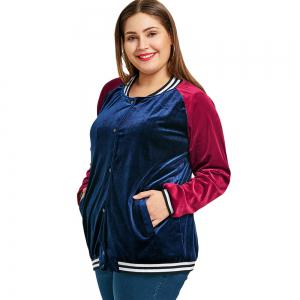 Plus Size Raglan Sleeve Velvet Baseball Jacket -