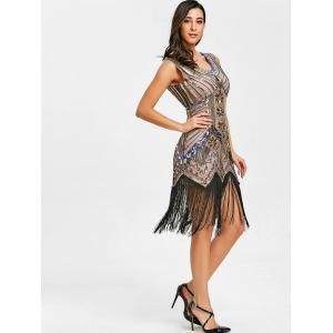Fringed Sequin Midi Party Dress -