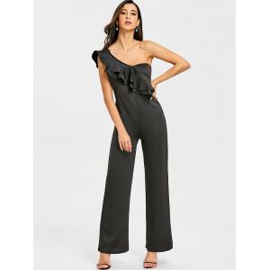 Ruffle One Shoulder Wide Leg Jumpsuit -