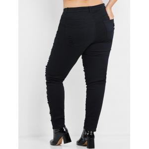 Plus Size High Rise Ripped Jeans -