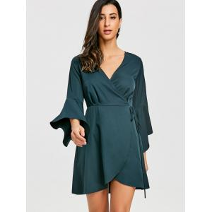 Bell Sleeve V Neck Mini Wrap Dress -