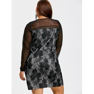 Lace Up Mesh Insert Plus Size Dress -