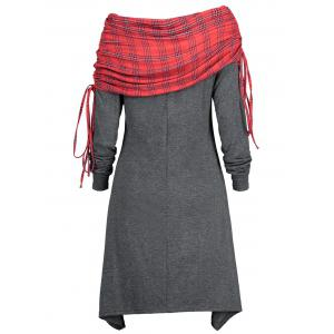 Drawstring Tartan Panel Long Sleeve Dress -