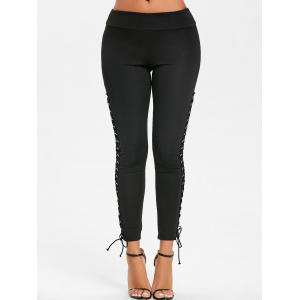 Elastic Waist Lace Up Leggings -