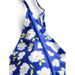 Plus Size Floral Piping Cut Out Swimwear -