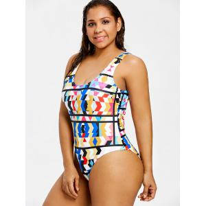 Colored Plus Size High Leg One Piece Swimsuit -