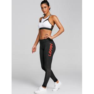 Racerback Bra and Hollow Out Letter Print Leggings -
