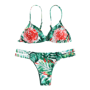 Floral Strappy String Bikini Set -