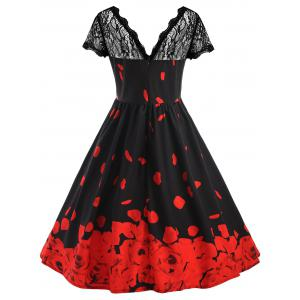 ... Plus Size Lace Rose Petal Pattern Midi Dress ...