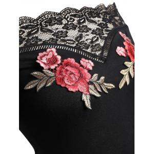 Plus Size Off Shoulder Flower Embroidered Bodycon Dress -
