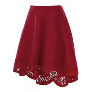 Scalloped Edge Openwork Dip Hem Skirt -