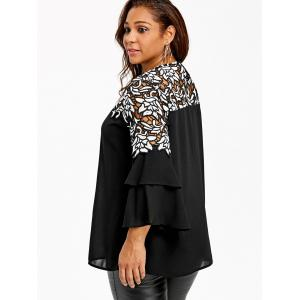 Plus Size Hollow Out Flare Sleeve Blouse -