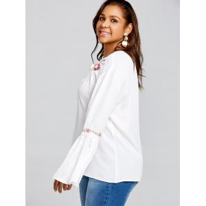 Plus Size Bell Sleeve Embroidery Smock Blouse -