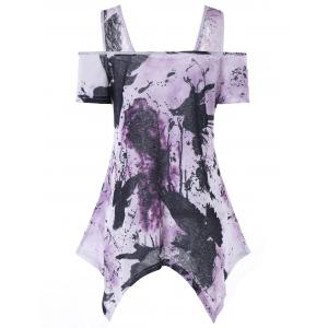 Handkerchief Tie Dye Cold Shoulder T-shirt -