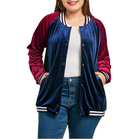 Trendy Plus Size Raglan Sleeve Velvet Baseball Jacket