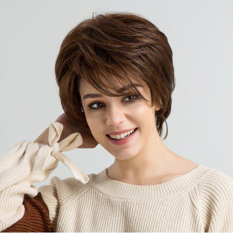 Fancy Short Side Bang Layered Fluffy Straight Human Hair Wig