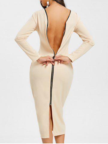 Latest Long Sleeve Back Zip Up Bodycon Dress
