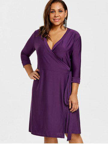 Wrap Dress Plus Size Purple Free Shipping Discount And Cheap Sale