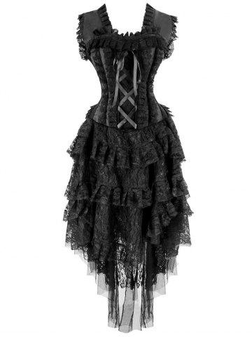 Fancy Tier Lace Asymmetric Flounce Corset Dress