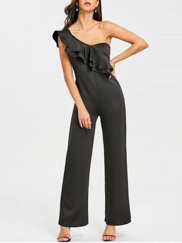 Cheap Ruffle One Shoulder Wide Leg Jumpsuit