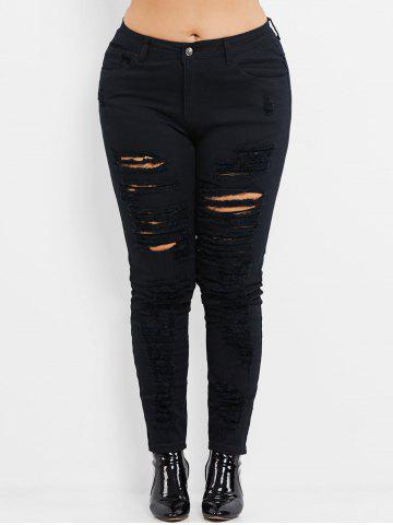 Fancy Plus Size High Rise Ripped Jeans