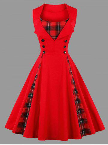Latest Plus Size Sleeveless Plaid Insert Vintage Dress