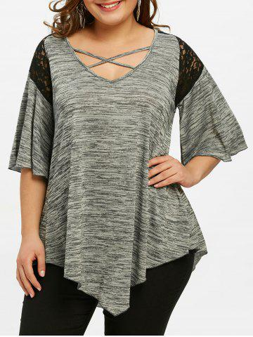 Shop Plus Size Flare Sleeve Asymmetrical Tunic T-shirt