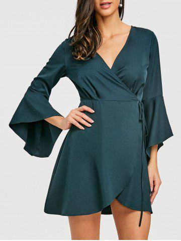 Hot Bell Sleeve V Neck Mini Wrap Dress