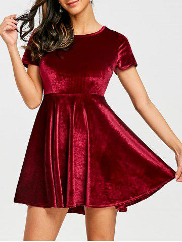 Hot A Line Velvet Mini Dress