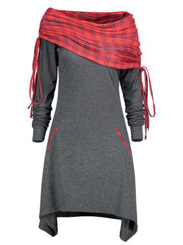 Outfit Drawstring Tartan Panel Long Sleeve Dress