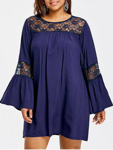 Hot Lace Insert Bell Sleeve Plus Size Swing Dress