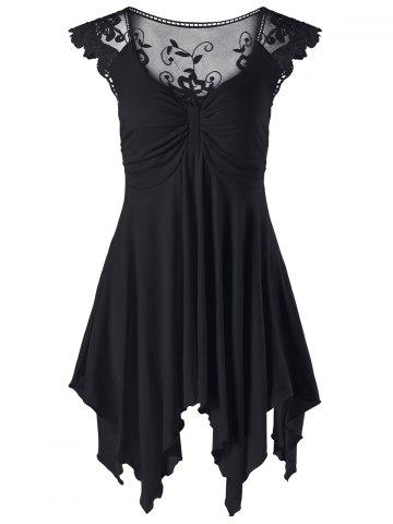 Affordable Cap Sleeve Lace Panel Asymmetric Top