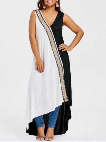 Buy Plus Size Embroidery V Neck Asymmetric Dress