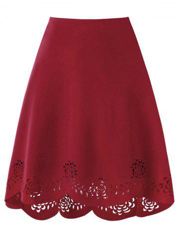 Chic Scalloped Edge Openwork Dip Hem Skirt