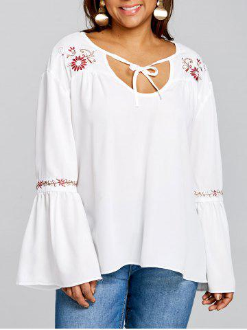 Hot Plus Size Bell Sleeve Embroidery Smock Blouse