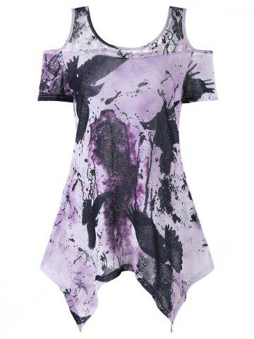 Store Handkerchief Tie Dye Cold Shoulder T-shirt