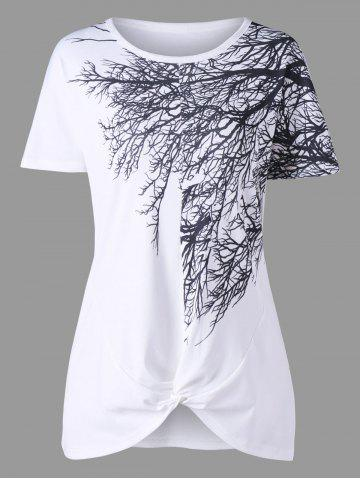 Fashion Tree Branch Print Front Knot Tee