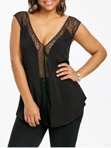 Best Plus Size See Thru Plunging Neck Tank Top