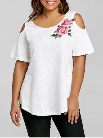 Best Plus Size Cold Shoulder Embroidery Appliqued T-shirt