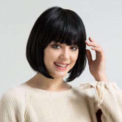 Short Full Bang Straight Bob Human Hair Wig -